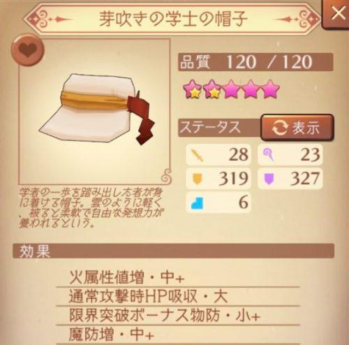 芽吹きの学士の帽子Lv70